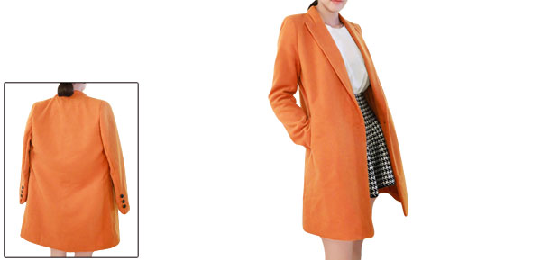Lady Peaked Lapel Casual Orange Worsted Blazer XS