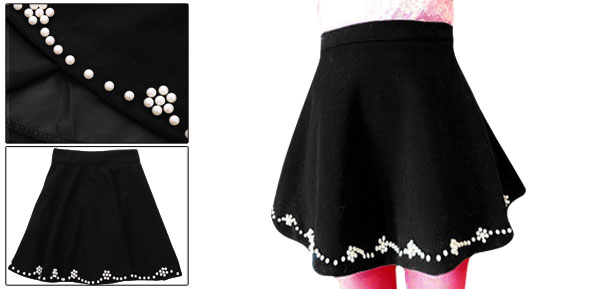 Woman Chic Beaded Decor Pure Black A-Line Worsted Mini Skirt XS