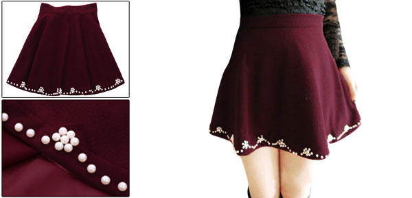 Pure Burgundy Chic Beading Decor A-Line Worsted Mini Skirt for Lady XS