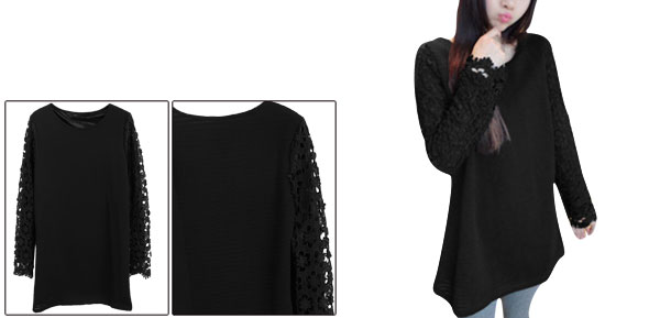 Women Round Neck Crochet Flower Detail Black Tunic Dress XS