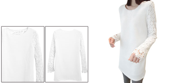 Women Crochet Flower Long Sleeved Round Neck White Tunic Dress XS