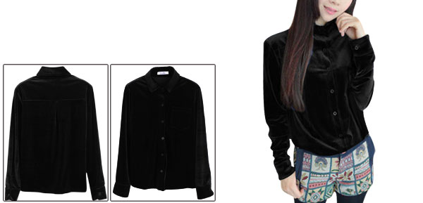 Woman Point Collar Long Sleeve Black Velvet Button-Front Shirt XS