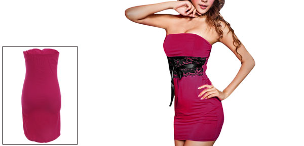 Elastic Back Lace Patchwork Splice Fuchsia Mini Dress for Lady XS
