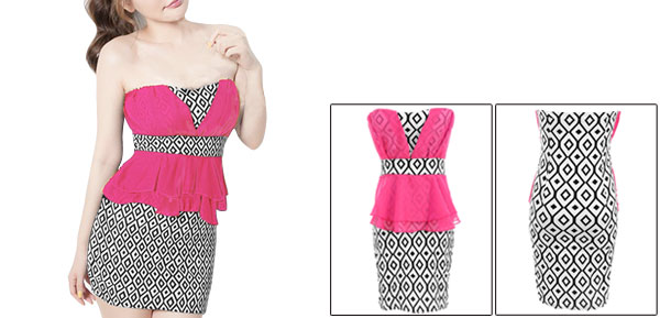 Ladies Fuchsia White Argyle Pattern Chiffon Splice Peplum Mini Dress XS