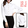 Ladies Long Sleeved Single Breasted Front White Casual Shirt XS