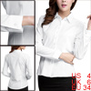 Women Fashion White Round Hem Long Sleeved Single Breasted Shirt S