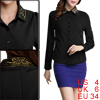 Women Long Sleeved Button Cuffs Beads Detail Black Shirt S