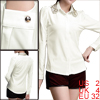 Women White Lace Detail Point Collar Button-up Cuff Round Hem Shirt XS