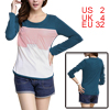 Women Round Neck Long Sleeved Blue Pink Color Block Tee Shirt XS