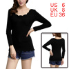Women Scoop Neck Long Sleeved One Chest Pocket Black Shirt S
