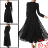 Women Stand Collar Self Waist String Black Chiffon Dress XS