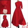 Women Solid Color Button Cuffs Stand Collar Red Chiffon Dress XS