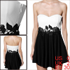 Women Color Block Embroidery Flower Decor Black White Tube Dress XS