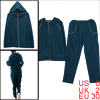 Lady Kangaroo Pockets Hoodie & Stretchy Waist Dark Turquoise Pants XS