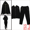 Women Raglan Sleeve Zipper Up Hoodie & Stretchy Waist Black Pants XS