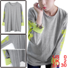 Lady Long Batwing Sleeve Autumn Loose Light Gray Top Shirt XS