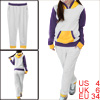 Ladies Contrast Color Light Gray Hoodie w Elastic Waist Pants Set S