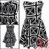 Women Padded Bust Invisible Shoulder Strap Low High Hem Dress Black White XS