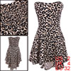 Women Strapless Leopard Pattern Asymmetrical Hem Dress Beige Black XS