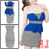 Woman Strapless Padded Bust Argyle Pattern Royalblue White Peplum Mini Dress XS