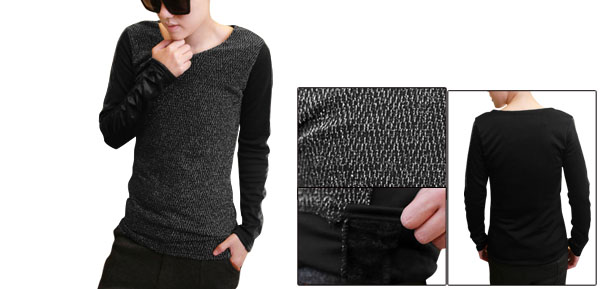Men V-Neck Long Sleeve Club Wear Patchwork Gray Black Casual Shirt S