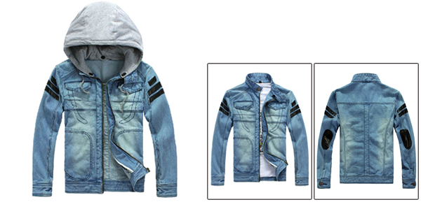 Man Movable Hood Full Zip-Up Patchwork Splice Light Blue Denim Jacket M