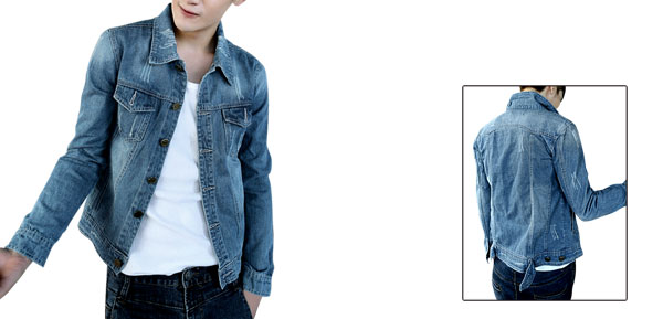 Men Point Collar Long Sleeve Destroyed Detail Blue Denim Jacket M