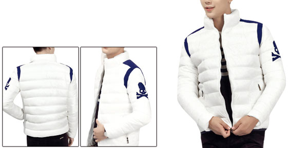 Man Stand Collar Zipper Closure White Padded Jacket M