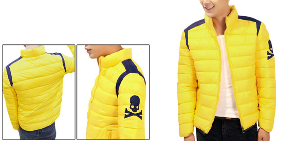 Man Stand Collar Zipper Closure Autumn Yellow Padded Jacket M