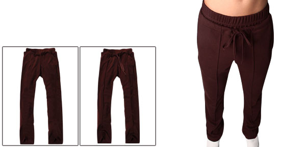 Man Dark Red Stretchy Waist Double Slant Pockets Loose Pants W29