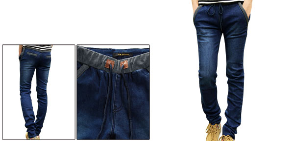Men Elastic Waist Patchwork Skinny Dark Blue Jeans Pants W28