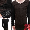 Men V-Neck Stripes Detail Patchwork Brown Black Casual Shirt S