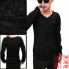 Men Long Sleeved Stripes Detail Splicing Club Wear Black Shirt S