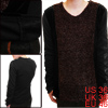 Men Pullover Long Sleeve Fleece Lining Stretchy Top Shirt Coffee Black S