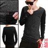 Men V-Neck Long Sleeve Club Wear Panel Gray Black Casual Shirt S