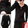 Men V-Neck Button Decor Front Patchwork Dark Brown Black Shirt S
