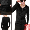 Men Solid Color Long Sleeved V-Neck Black Casual Shirt S