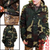 Man Army Green Snap Front Raglan Sleeve Hooded Padded Jacket L