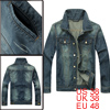 Man Dark Blue Button-up Cuff Double Slant Pockets Denim Jacket M