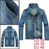 Man Light Blue Long Sleeve Point Collar Button-up Cuff Denim Jacket M