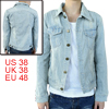 Man Pale Blue Single-Breasted Front Multi-Pockets Jeans Jacke M