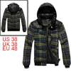 Man Blue Yellow Ribbed Hem Detachable Hood Patchwork Padded Jacket M