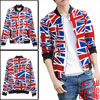 Men Stand Collar British Flag Pattern Zip Up Multicolor Jacket M