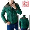 Man Green Zipper Decor Detail Panel Long Sleeved P...