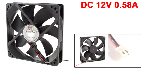 DC 12V 0.58A 7 Blades Sleeve Bearing Computer Case Cooling Fan Black 12cm