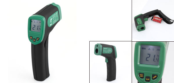 Black Handle Green Body Ear Forehead Clinical Non Contact IR Thermometer -50-330 Degree