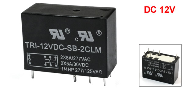 DC 12V Coil Volt DPDT 8-Pin Plug-In PCB Type Welding Power Relay