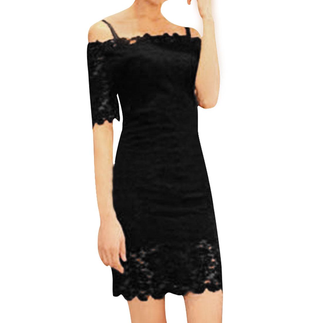 Girls Off Shoulder Short Sleeve Semi-Sheer Lace Sheath Dress