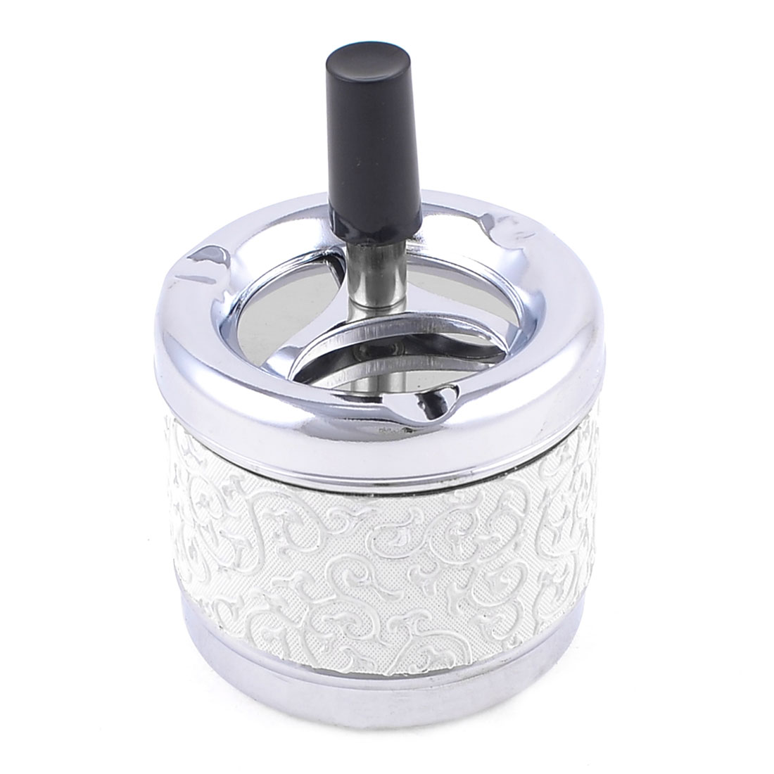 Home-White-Vines-Print-Metal-Cylinder-Cigarette-Ash-Container