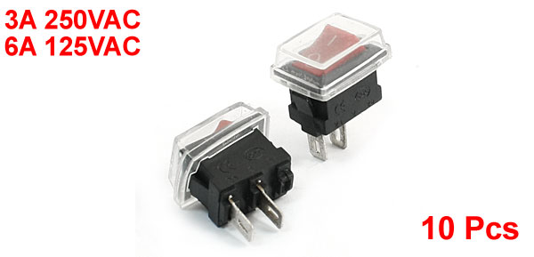 10 Pcs 3A/6A 250VAC/125VAC Soldering Waterproof Snap in Rocker Switches